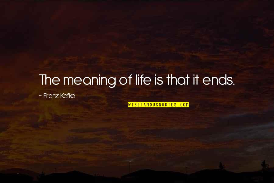Kafka's Quotes By Franz Kafka: The meaning of life is that it ends.