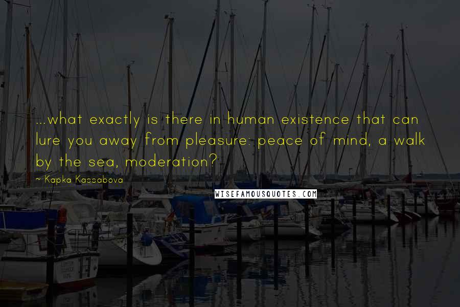 Kapka Kassabova quotes: ...what exactly is there in human existence that can lure you away from pleasure: peace of mind, a walk by the sea, moderation?