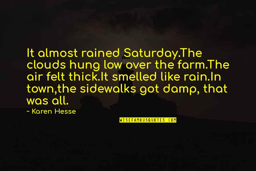 Karen Hesse Quotes By Karen Hesse: It almost rained Saturday.The clouds hung low over