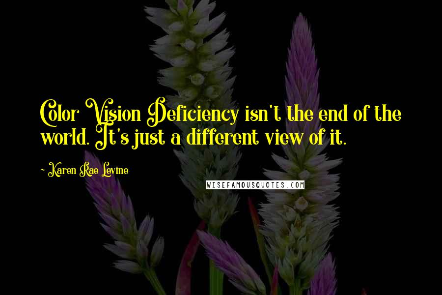 Karen Rae Levine quotes: Color Vision Deficiency isn't the end of the world. It's just a different view of it.