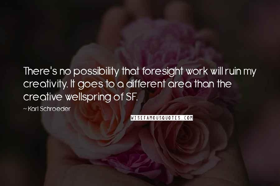 Karl Schroeder quotes: There's no possibility that foresight work will ruin my creativity. It goes to a different area than the creative wellspring of SF.