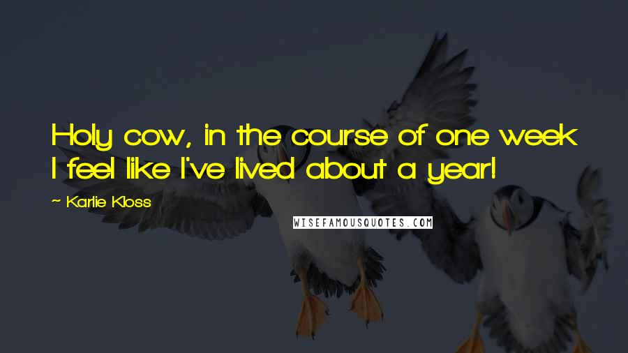 Karlie Kloss quotes: Holy cow, in the course of one week I feel like I've lived about a year!