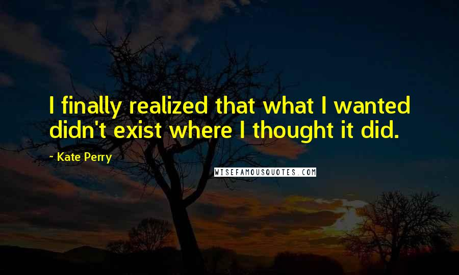 Kate Perry quotes: I finally realized that what I wanted didn't exist where I thought it did.