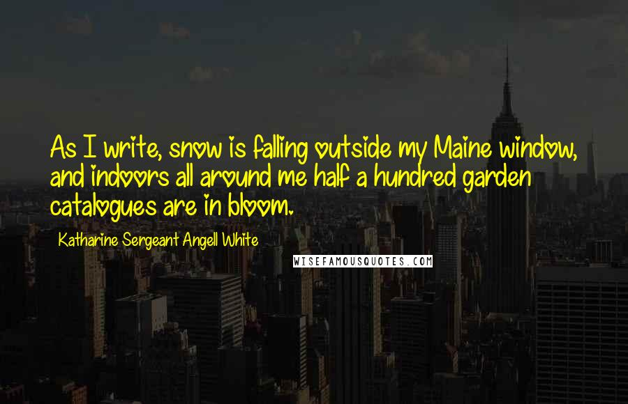 Katharine Sergeant Angell White quotes: As I write, snow is falling outside my Maine window, and indoors all around me half a hundred garden catalogues are in bloom.