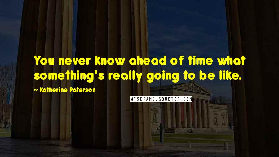 Katherine Paterson quotes: You never know ahead of time what something's really going to be like.