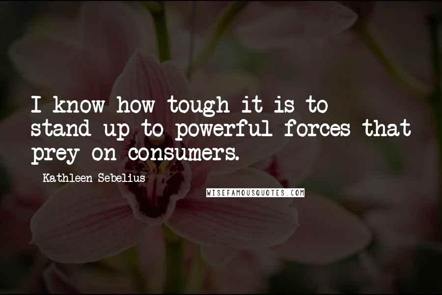 Kathleen Sebelius quotes: I know how tough it is to stand up to powerful forces that prey on consumers.