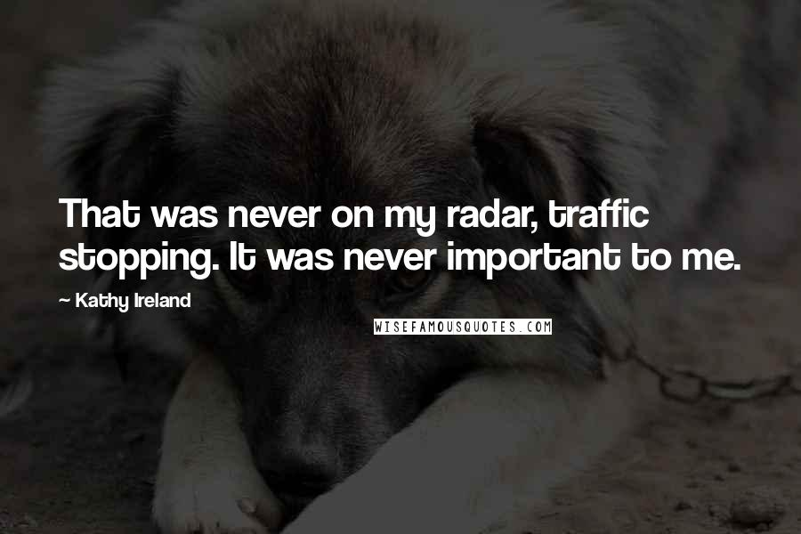 Kathy Ireland quotes: That was never on my radar, traffic stopping. It was never important to me.