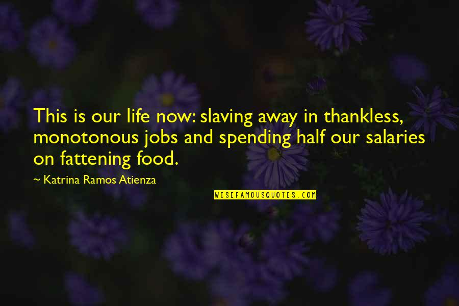 Katrina Quotes By Katrina Ramos Atienza: This is our life now: slaving away in