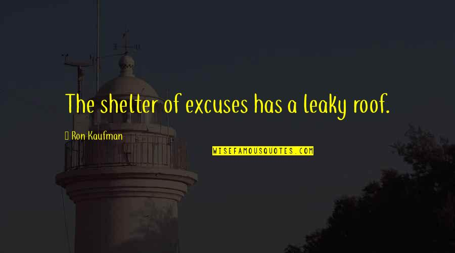Kaufman Quotes By Ron Kaufman: The shelter of excuses has a leaky roof.