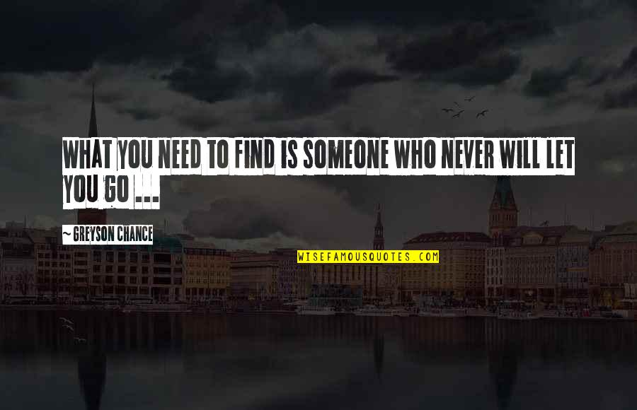 Kavorka Quotes By Greyson Chance: What you need to find is someone who