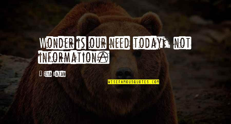 Kazan's Quotes By Elia Kazan: Wonder is our need today, not information.