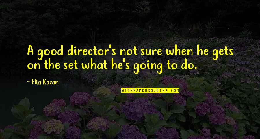 Kazan's Quotes By Elia Kazan: A good director's not sure when he gets