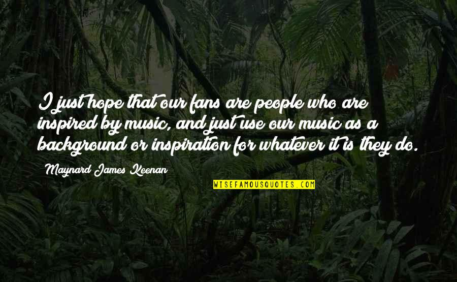 Keenan Quotes By Maynard James Keenan: I just hope that our fans are people