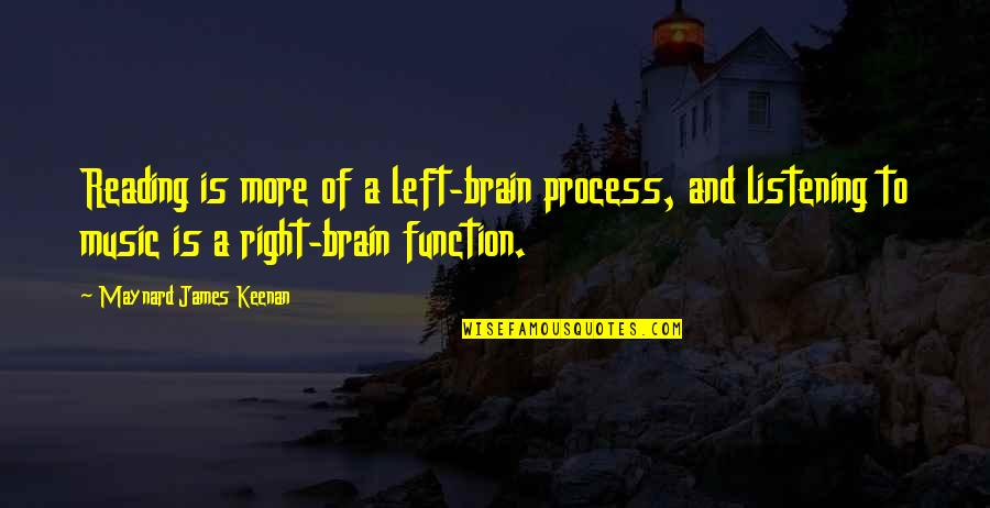 Keenan Quotes By Maynard James Keenan: Reading is more of a left-brain process, and