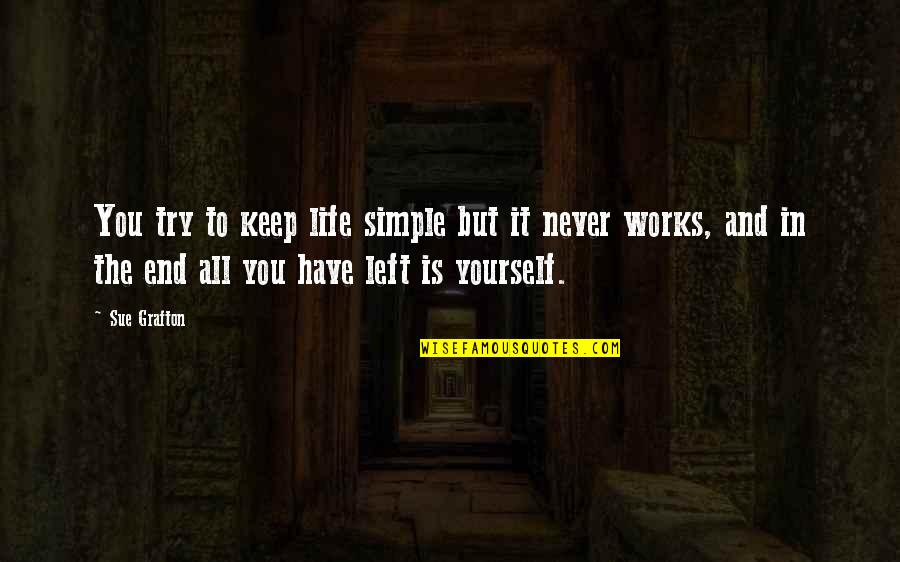 Keep It Simple Quotes By Sue Grafton: You try to keep life simple but it