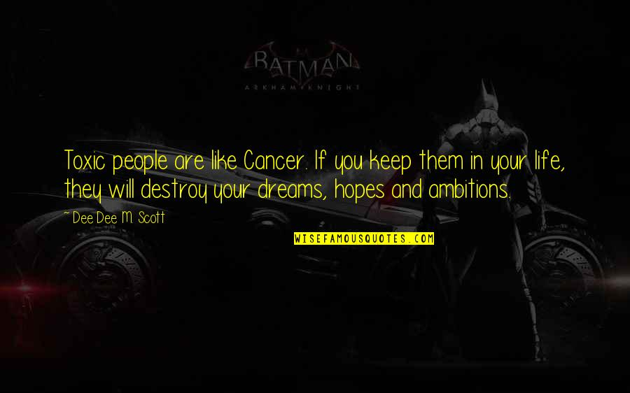 Keep Your Hopes Up Quotes By Dee Dee M. Scott: Toxic people are like Cancer. If you keep