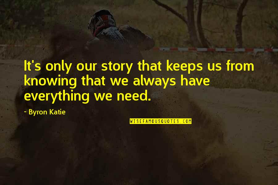 Keeps Quotes By Byron Katie: It's only our story that keeps us from