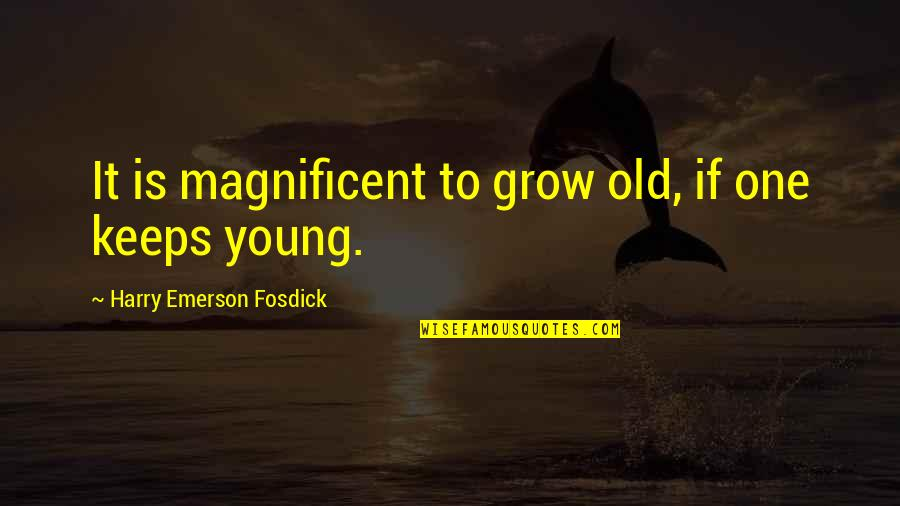 Keeps Quotes By Harry Emerson Fosdick: It is magnificent to grow old, if one
