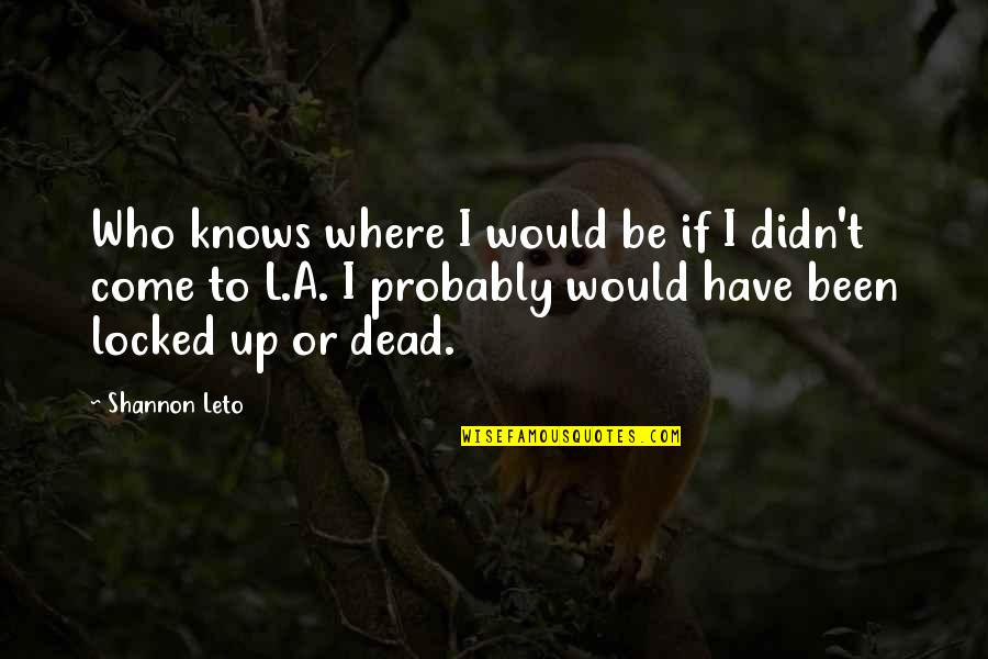 Keith Buckley Quotes By Shannon Leto: Who knows where I would be if I