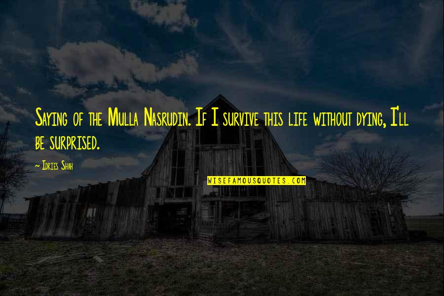 Kenneth Goldsmith Quotes By Idries Shah: Saying of the Mulla Nasrudin. If I survive