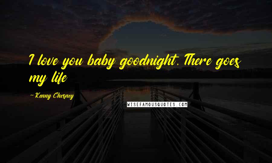 Kenny Chesney quotes: I love you baby goodnight. There goes my life