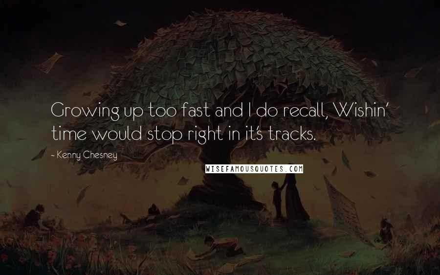Kenny Chesney quotes: Growing up too fast and I do recall, Wishin' time would stop right in it's tracks.