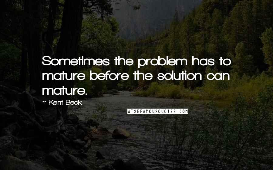 Kent Beck quotes: Sometimes the problem has to mature before the solution can mature.