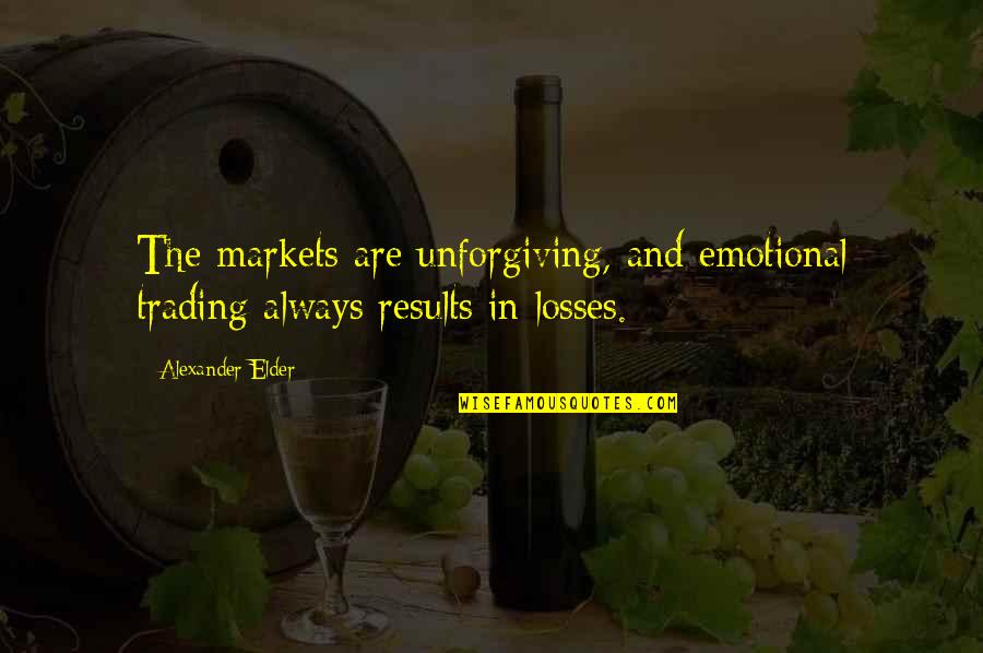 Kenya Police Famous Quotes By Alexander Elder: The markets are unforgiving, and emotional trading always