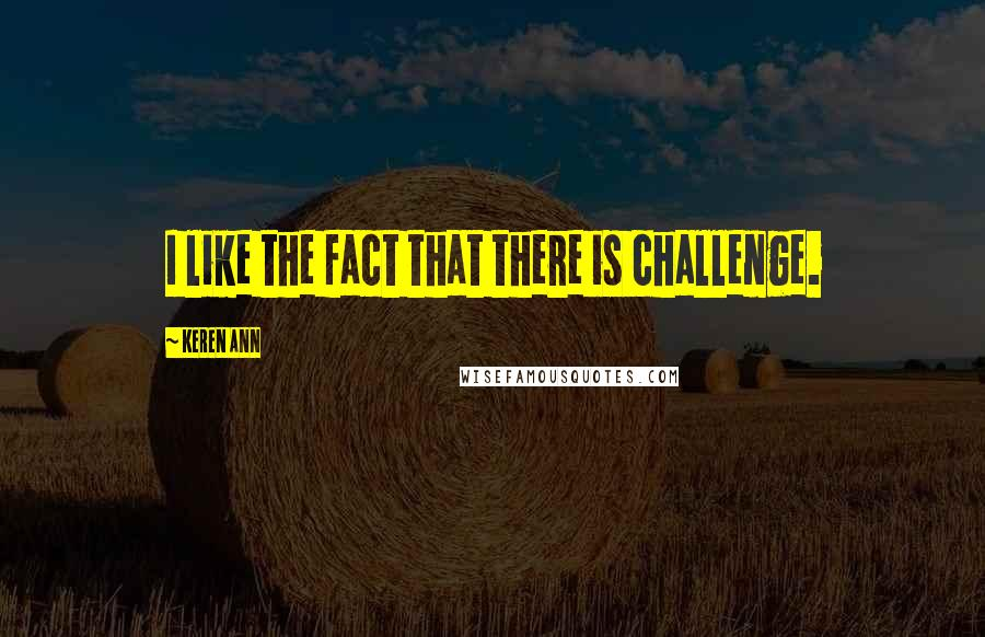 Keren Ann quotes: I like the fact that there is challenge.
