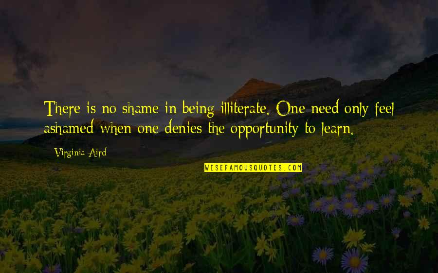 Kevin Flynn Tron Quotes By Virginia Aird: There is no shame in being illiterate. One