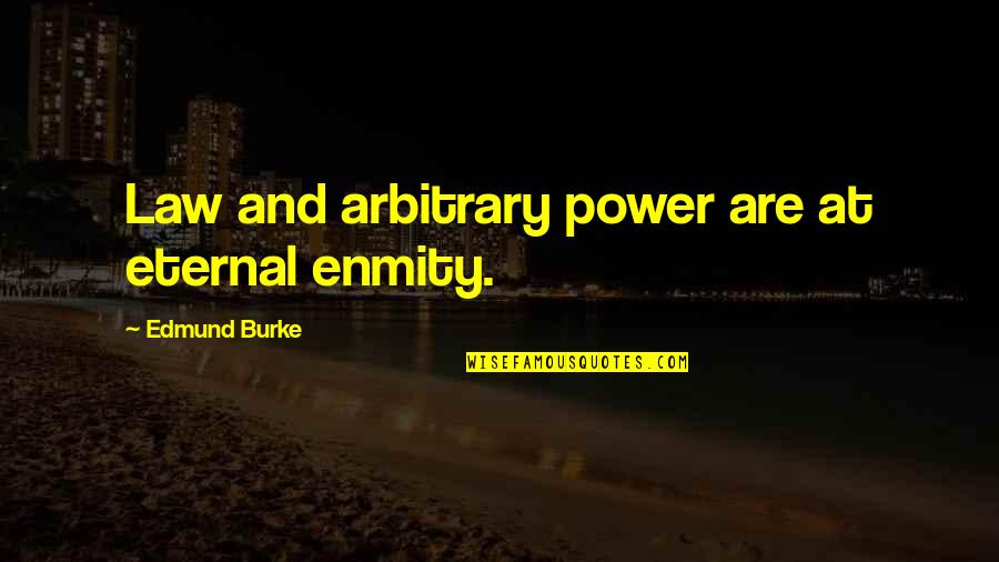 Kevin Gates Luca Brasi Quotes By Edmund Burke: Law and arbitrary power are at eternal enmity.