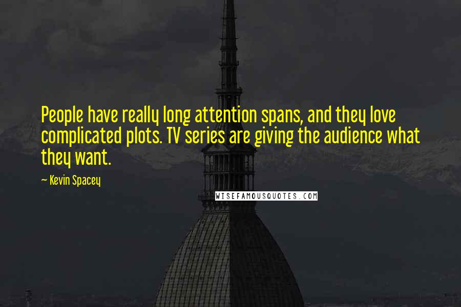 Kevin Spacey quotes: People have really long attention spans, and they love complicated plots. TV series are giving the audience what they want.