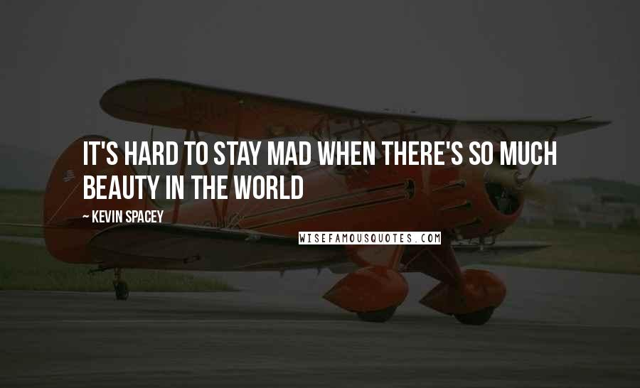 Kevin Spacey quotes: It's Hard to Stay Mad When There's So Much Beauty in the World