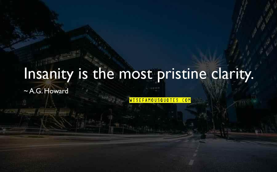 Key Rack Quotes By A.G. Howard: Insanity is the most pristine clarity.