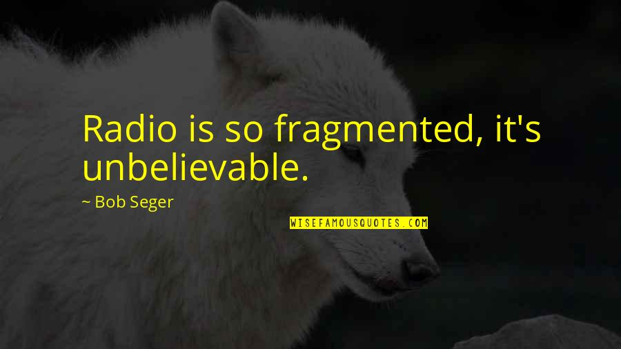 Key Rack Quotes By Bob Seger: Radio is so fragmented, it's unbelievable.