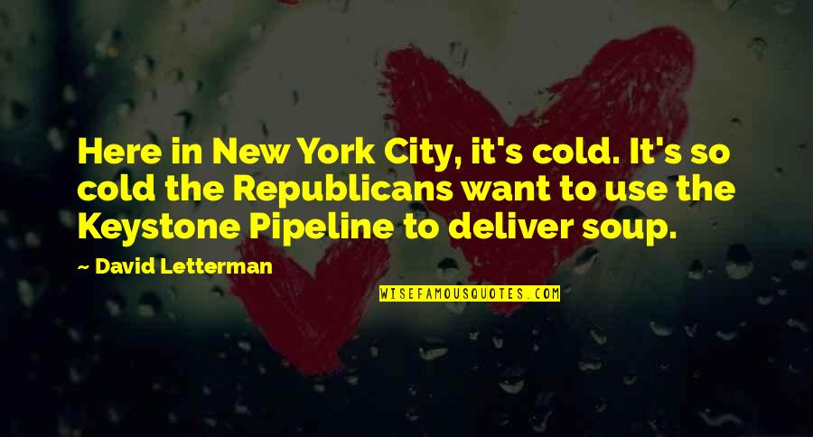 Keystone Pipeline Quotes By David Letterman: Here in New York City, it's cold. It's