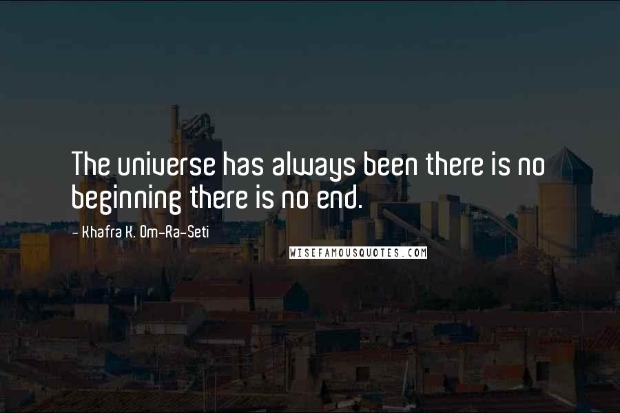 Khafra K. Om-Ra-Seti quotes: The universe has always been there is no beginning there is no end.
