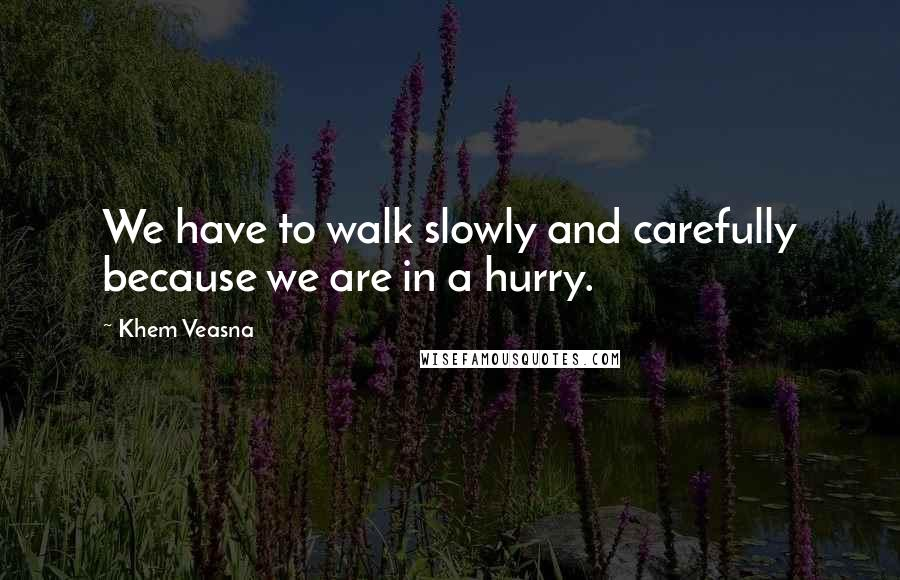 Khem Veasna quotes: We have to walk slowly and carefully because we are in a hurry.
