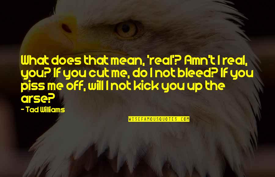 Kick Arse 2 Quotes By Tad Williams: What does that mean, 'real'? Amn't I real,