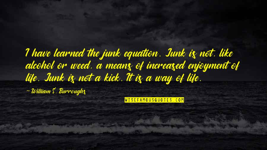 Kick Out Of Life Quotes By William S. Burroughs: I have learned the junk equation. Junk is
