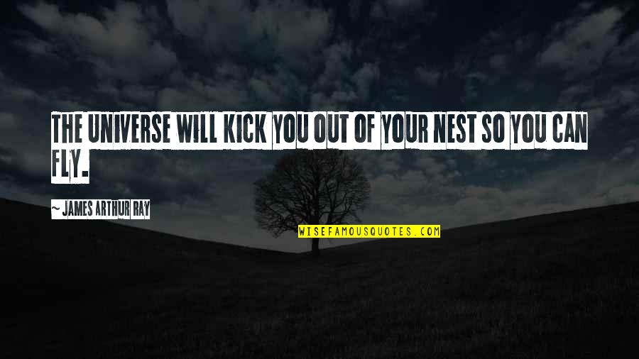 Kicks Quotes By James Arthur Ray: The Universe will kick you out of your