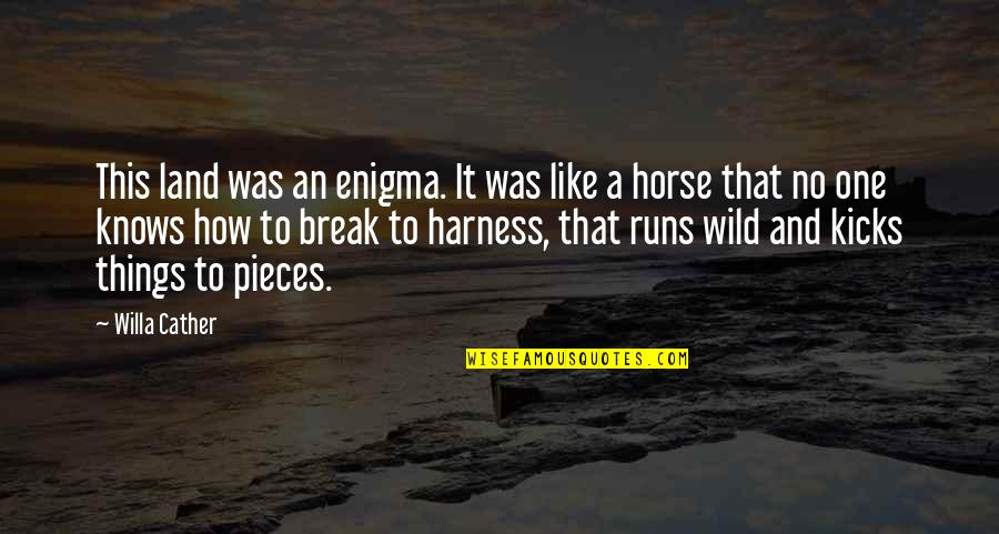 Kicks Quotes By Willa Cather: This land was an enigma. It was like