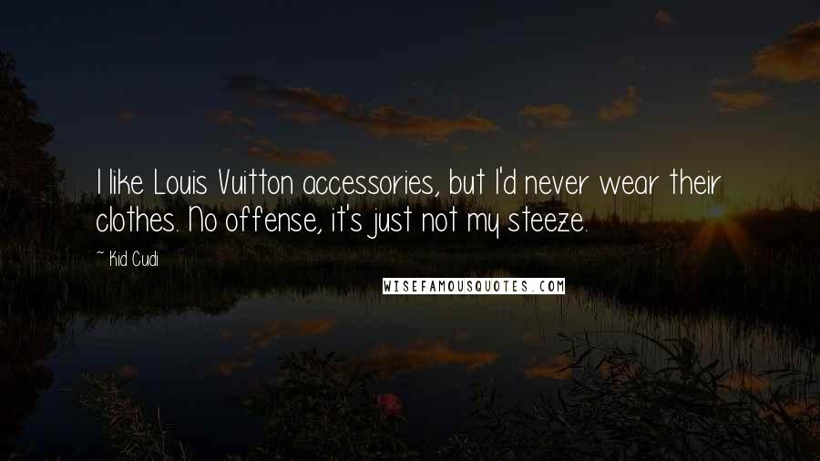 Kid Cudi quotes: I like Louis Vuitton accessories, but I'd never wear their clothes. No offense, it's just not my steeze.