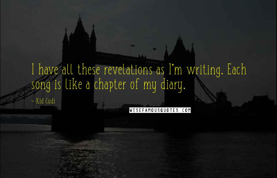 Kid Cudi quotes: I have all these revelations as I'm writing. Each song is like a chapter of my diary.