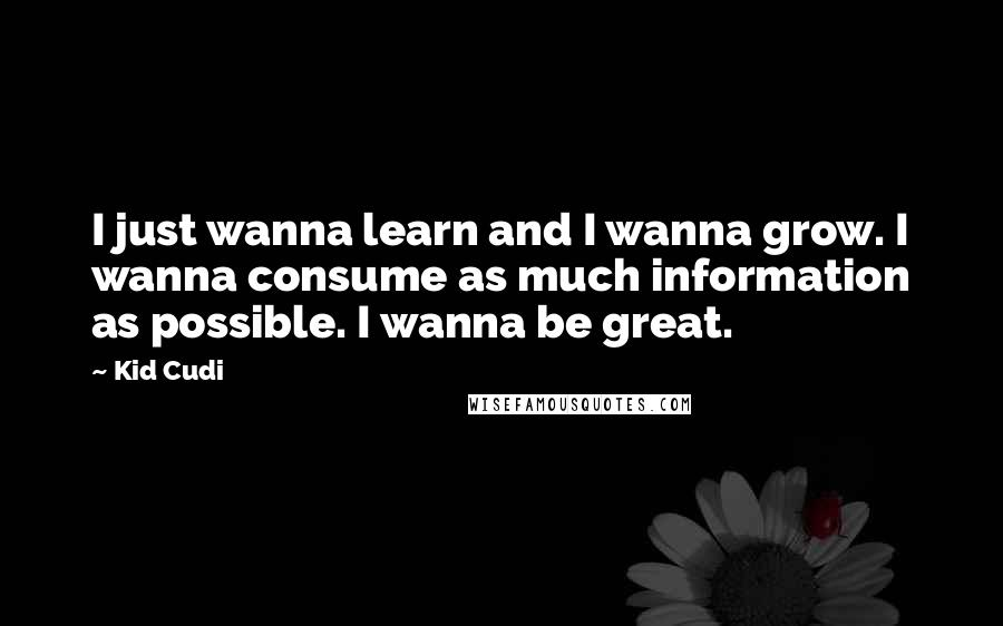 Kid Cudi quotes: I just wanna learn and I wanna grow. I wanna consume as much information as possible. I wanna be great.