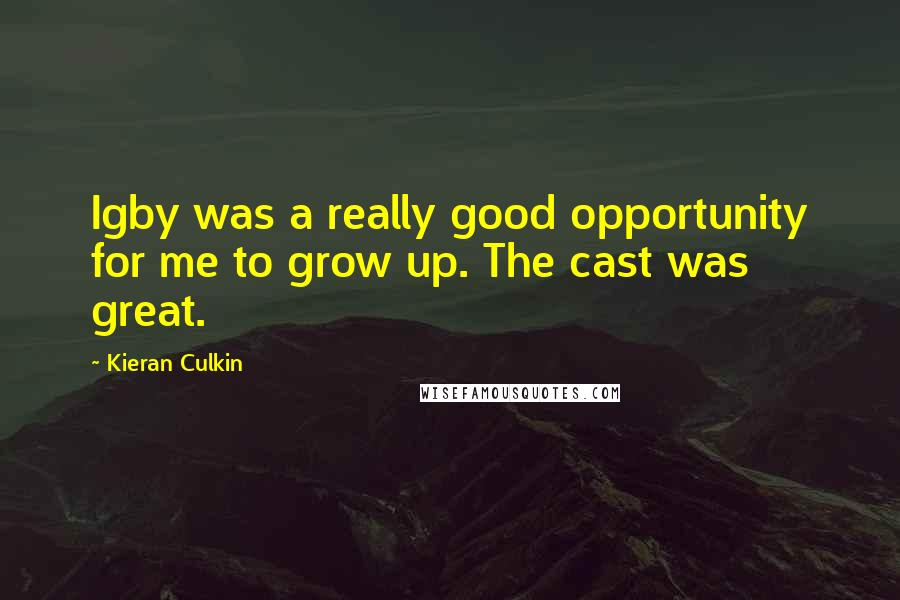 Kieran Culkin quotes: Igby was a really good opportunity for me to grow up. The cast was great.