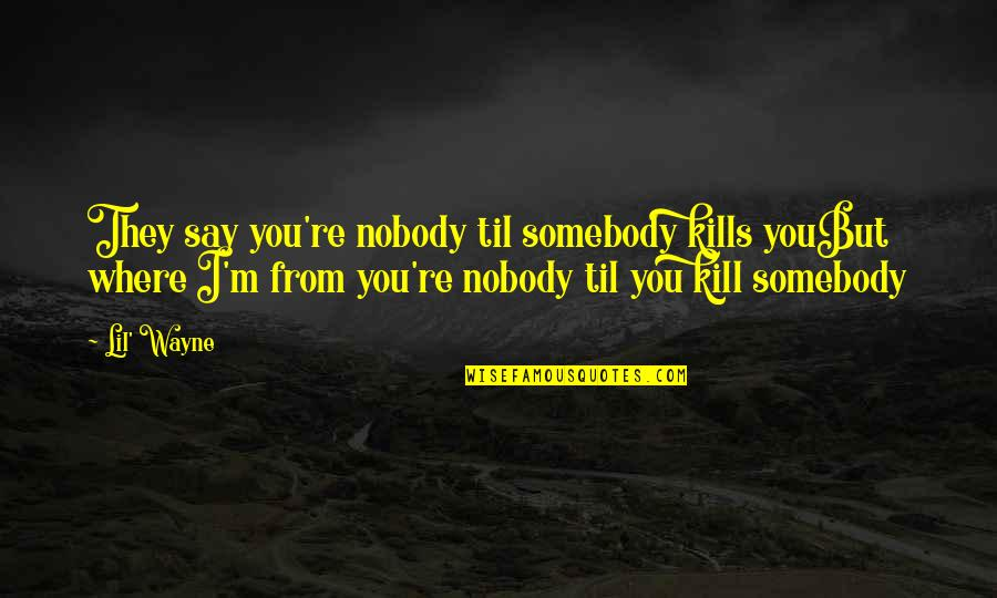 Kill You Quotes By Lil' Wayne: They say you're nobody til somebody kills youBut