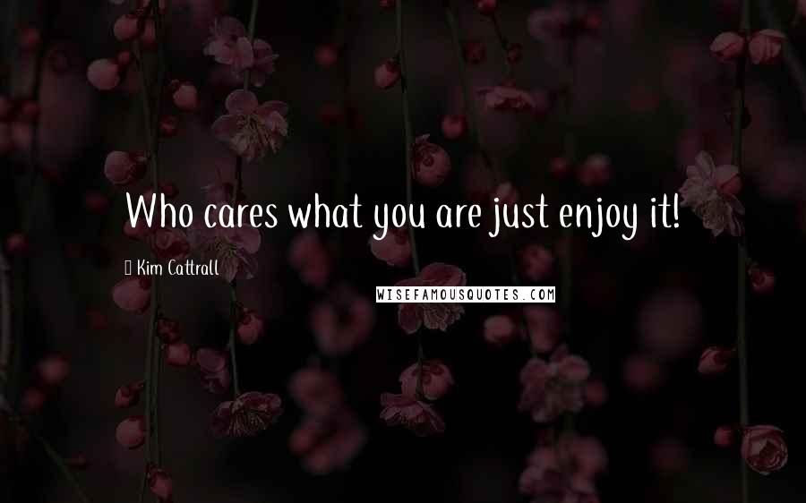 Kim Cattrall quotes: Who cares what you are just enjoy it!