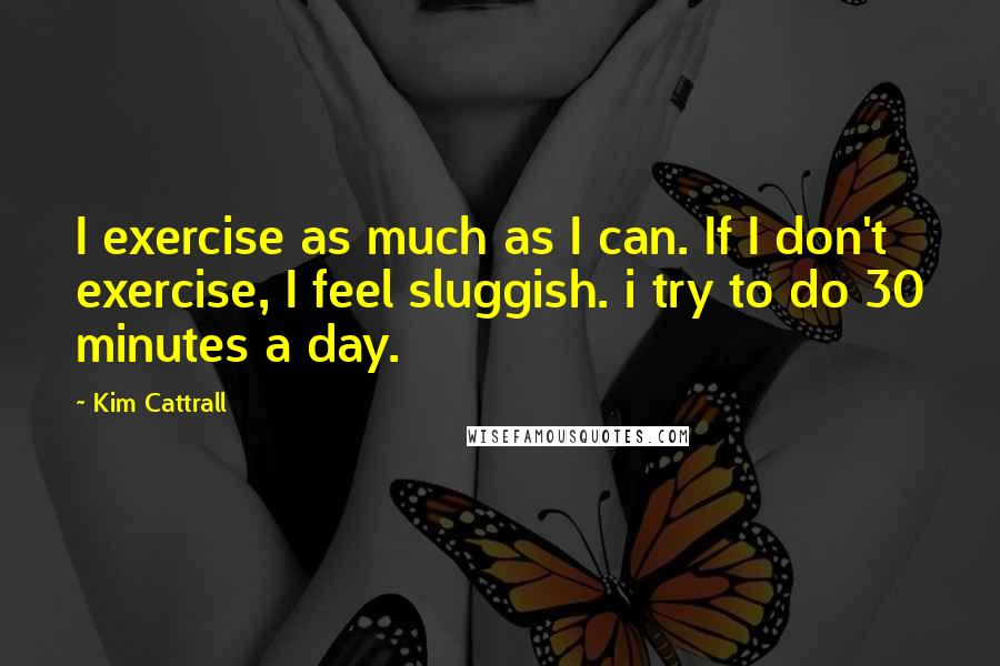 Kim Cattrall quotes: I exercise as much as I can. If I don't exercise, I feel sluggish. i try to do 30 minutes a day.