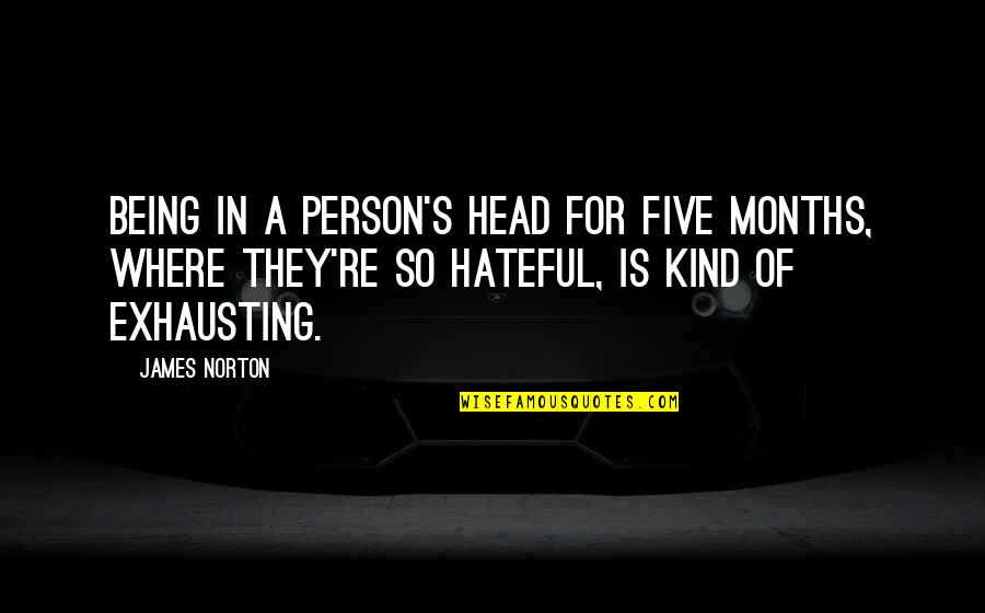 Kind Person Quotes By James Norton: Being in a person's head for five months,